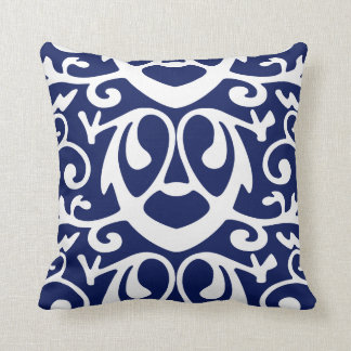 Elegant Navy Blue and White  Throw Pillow