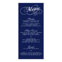 Elegant Navy Blue And White Wedding Menu Templates Personalized Rack Card