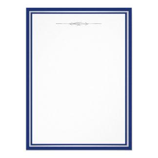 Elegant Navy Blue Damask 17 Cm X 22 Cm Invitation Card