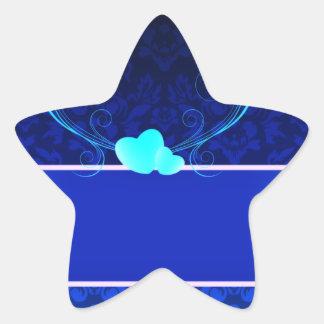 Elegant navy blue damask wedding gift star sticker