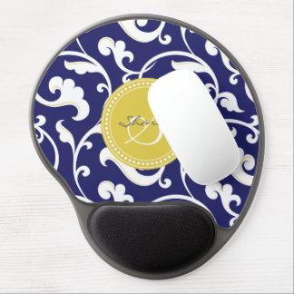 Elegant navy blue floral pattern monogram gel mouse mats