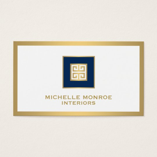 Elegant Navy Blue/Gold Border Greek Key Designer Business