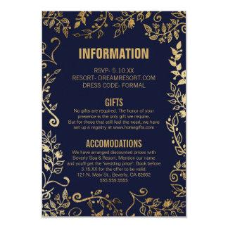 Elegant Navy Blue Gold Floral Wedding Info 9 Cm X 13 Cm Invitation Card