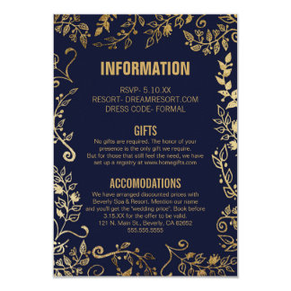 Elegant Navy Blue Gold Floral Wedding Info Card
