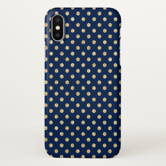 Elegant Navy Blue Gold Glitter Polka Dots Pattern iPhone X Case