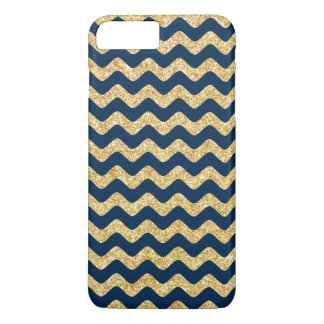 Elegant Navy Blue Gold Glitter Zigzag Chevron iPhone 8 Plus/7 Plus Case