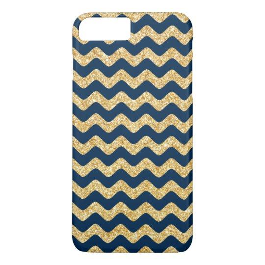 Elegant Navy Blue Gold Glitter Zigzag Chevron iPhone