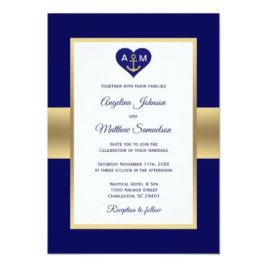 Elegant Navy Blue Gold Heart Nautical Wedding Card