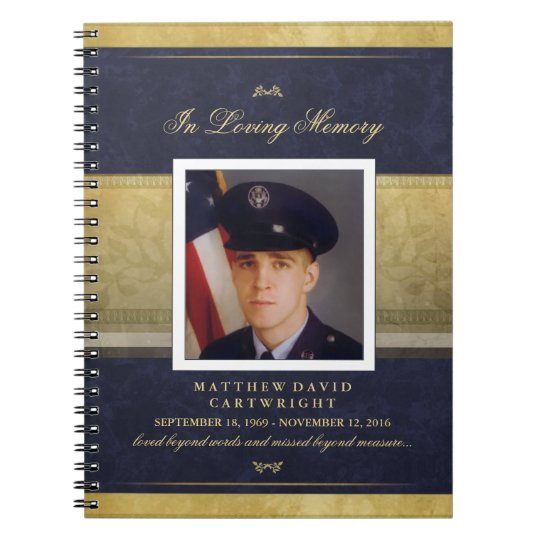 Elegant Navy Blue & Gold Memorial Guest Book