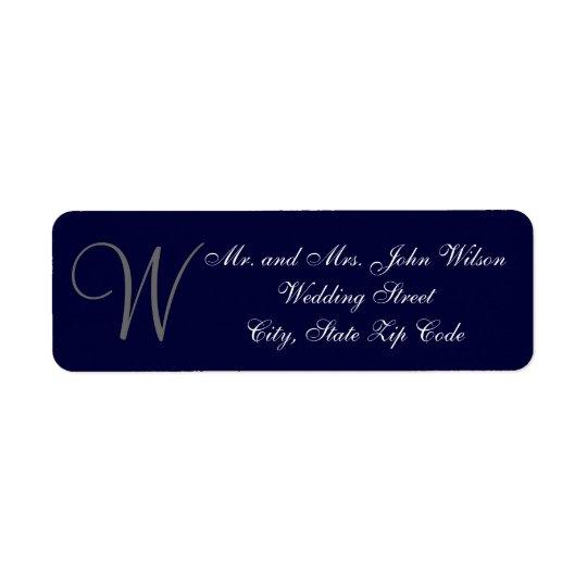 Elegant Navy Blue Grey Monogram Wedding Invitation Return Address Label