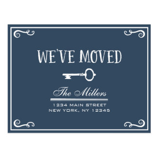 Elegant Navy Blue Key Moving Announcement Postcard