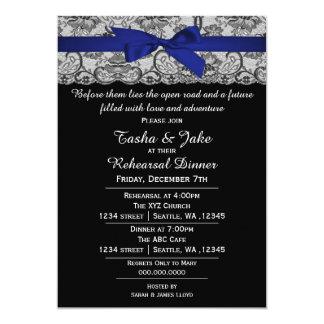 Elegant Navy Blue Lace Rehearsal Dinner Invitation