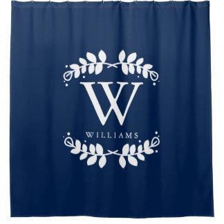 Elegant Navy Blue Monogram Shower Curtain