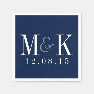 Elegant Navy Blue Monogram Wedding Napkins Paper Napkin