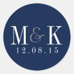 Elegant Navy Blue Monogram Wedding Sticker