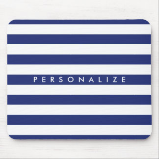 Elegant navy blue nautical stripe personalized mouse mat