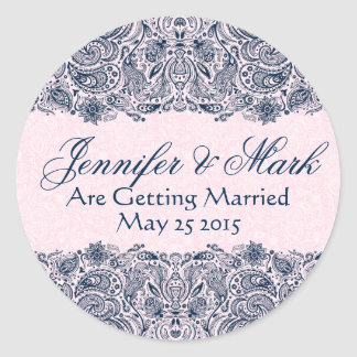 Elegant Navy Blue & Pinke Floral Paisley Lace Round Sticker