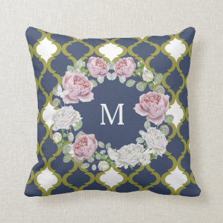Elegant Navy Blue Quatrefoil Rose Wreath Monogram Cushion