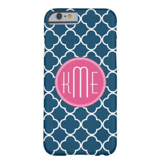 Elegant Navy Blue Quatrefoil with Pink Monogram Barely There iPhone 6 Case