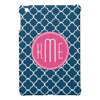 Elegant Navy Blue Quatrefoil with Pink Monogram Case For The iPad Mini