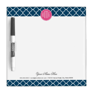 Elegant Navy Blue Quatrefoil with Pink Monogram Dry Erase Board