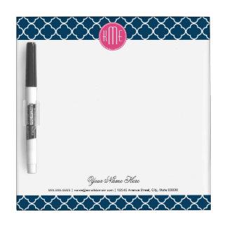 Elegant Navy Blue Quatrefoil with Pink Monogram Dry Erase Boards