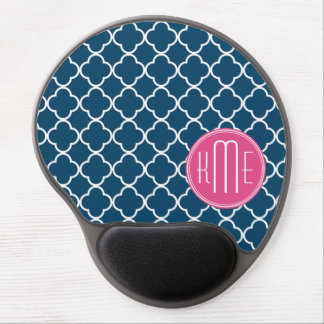 Elegant Navy Blue Quatrefoil with Pink Monogram Gel Mouse Mat