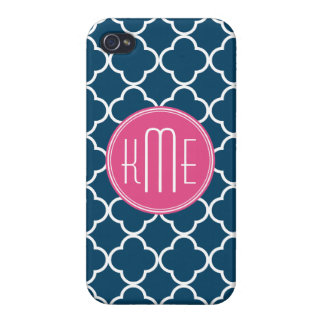 Elegant Navy Blue Quatrefoil with Pink Monogram iPhone 4 Cases