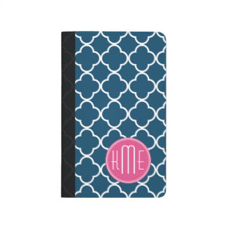 Elegant Navy Blue Quatrefoil with Pink Monogram Journal