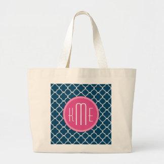 Elegant Navy Blue Quatrefoil with Pink Monogram Jumbo Tote Bag