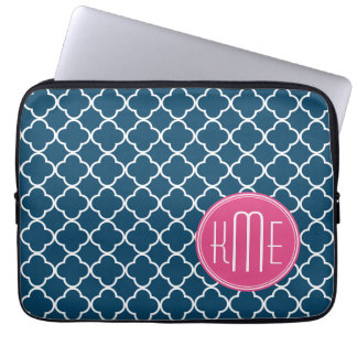 Elegant Navy Blue Quatrefoil with Pink Monogram Laptop Sleeve