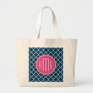 Elegant Navy Blue Quatrefoil with Pink Monogram Large Tote Bag