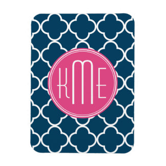 Elegant Navy Blue Quatrefoil with Pink Monogram Magnet
