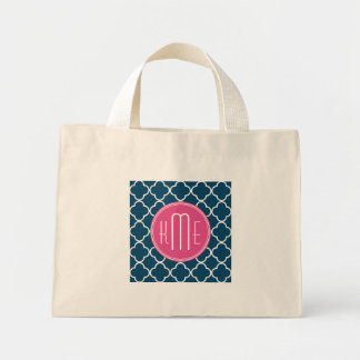 Elegant Navy Blue Quatrefoil with Pink Monogram Mini Tote Bag