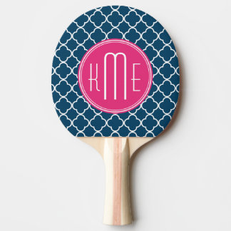 Elegant Navy Blue Quatrefoil with Pink Monogram Ping Pong Paddle