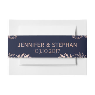 Elegant Navy Blue Rose Gold Floral Belly Band Invitation Belly Band