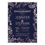 Elegant Navy Blue Rose Gold Floral Engagement 13 Cm X 18 Cm Invitation Card