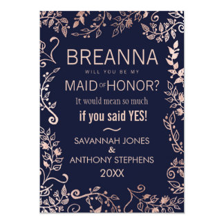 Elegant Navy Blue Rose Gold Floral Maid of Honor Card