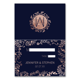 Elegant Navy Blue Rose Gold Floral Name Place Card