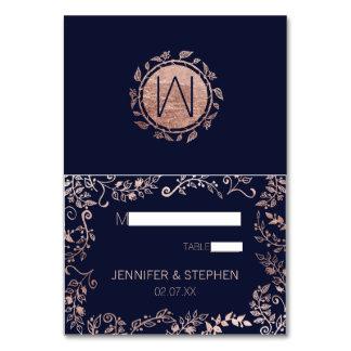Elegant Navy Blue Rose Gold Floral Name Place Card Table Cards