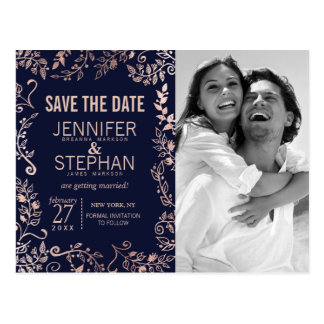 Elegant Navy Blue Rose Gold Floral Save the Dates Postcard