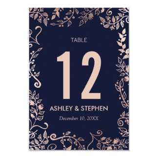 Elegant Navy Blue Rose Gold Floral Table Numbers