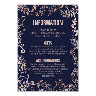 Elegant Navy Blue Rose Gold Floral Wedding Info Card