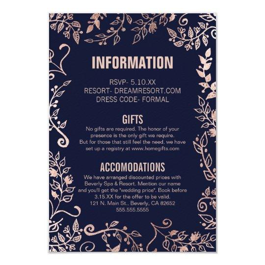 Elegant Navy Blue Rose Gold Floral Wedding Info