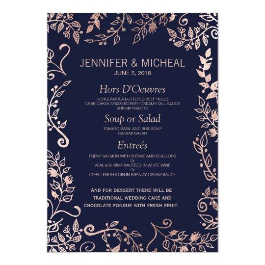 Elegant Navy Blue Rose Gold Floral Wedding Menu