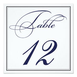 Elegant Navy Blue Script Table Number Cards 13 Cm X 13 Cm Square Invitation Card