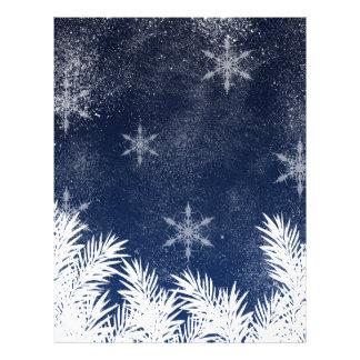 Elegant Navy Blue Snowflake Pine Winter 21.5 Cm X 28 Cm Flyer