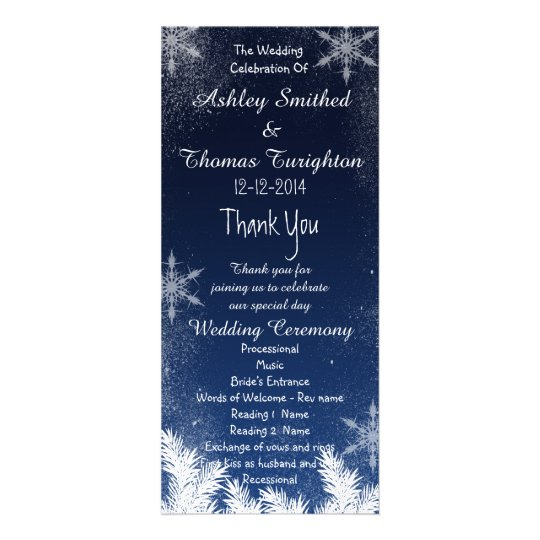 Elegant Navy Blue Snowflake Winter Wedding Program Rack