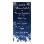 Elegant Navy Blue Snowflake Winter Wedding Program Personalized Rack Card