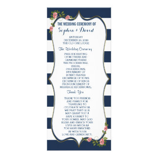 Elegant Navy Blue Stripes Wedding Ceremony Program Custom Rack Card